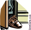 Vector Clip Art image  of a foot in the door