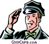 vintage service station employee Vector Clip Art picture