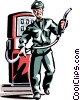 Vector Clip Art graphic  of a service station employee