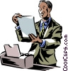 Vector Clipart graphic  of a man looking at a computer