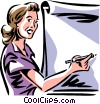 Vector Clipart image  of a woman/teacher writing on a