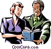 Vector Clip Art picture  of a man and woman reading a book