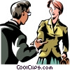 two people greeting Vector Clipart illustration