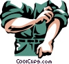 Vector Clip Art graphic  of a man rolling up his sleeves