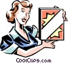 Vector Clip Art graphic  of a woman with a box of laundry