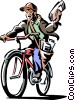 Vector Clip Art image  of a boy delivering a newspaper on
