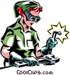 woman welding Vector Clipart illustration