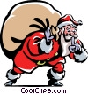Vector Clipart graphic  of a Santa and his sack of toys