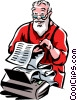 Santa checking his list Vector Clipart illustration