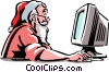 Vector Clip Art image  of a Santa working on his computer