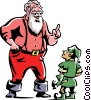Vector Clip Art picture  of a Santa talking to an elf