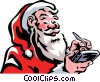Santa adding information to his day timer Vector Clip Art graphic