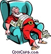 Santa asleep in his chair after reading his list Vector Clipart image