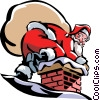 Vector Clipart picture  of a Santa going down the chimney