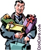 Vector Clip Art image  of a man with Christmas presents