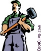 Vector Clip Art image  of a man standing with a sledgehammer