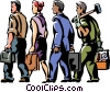 business and trade people walking to work Vector Clipart illustration