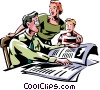 man reading the morning newspaper with wife and son Vector Clip Art picture