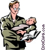 Vector Clip Art picture  of a man holding a baby