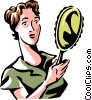 woman looking in a mirror Vector Clipart image