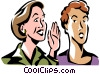 Vector Clip Art graphic  of a women whispering