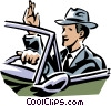 Businessman driving a car Vector Clip Art picture