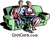 family sitting on a couch Vector Clipart graphic