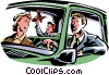 Vector Clipart illustration  of a Family going for a drive