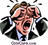 Vector Clip Art picture  of a man crying