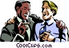 men laughing while smoking a cigar Vector Clipart image