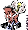 Vector Clipart graphic  of a Businessman with a light bulb
