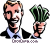 man with a hand full of money Vector Clip Art picture