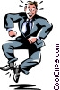 Vector Clipart graphic  of a man kicking his heels in joy