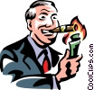 Vector Clipart graphic  of a man lighting a cigar with