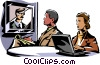 business meeting/video conference Vector Clip Art graphic
