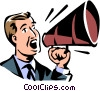 Vector Clip Art image  of a man talking into a megaphone