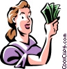 Vector Clip Art graphic  of a woman with a handful of money