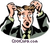 Vector Clip Art graphic  of a frustrated man pulling out his