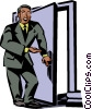 businessman opening a door Vector Clipart illustration