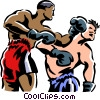 Boxers fighting Vector Clipart illustration