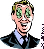 Vector Clip Art graphic  of a man with dollar sign eyes