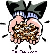 Vector Clip Art graphic  of a man with coins in his hands