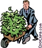 Vector Clipart illustration  of a man with a wheelbarrow full of