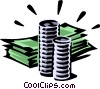 Vector Clip Art image  of a dollar bills and coins