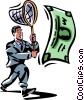 businessman chasing money with a net Vector Clip Art graphic