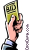 Vector Clipart graphic  of a person placing a bid on the