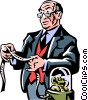 Vector Clip Art image  of a businessman looking at the