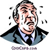 Vector Clipart picture  of a businessman crying