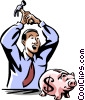 Vector Clipart illustration  of a man opening his piggy bank