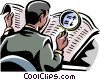 man looking at newspaper with magnifying glass Vector Clipart image